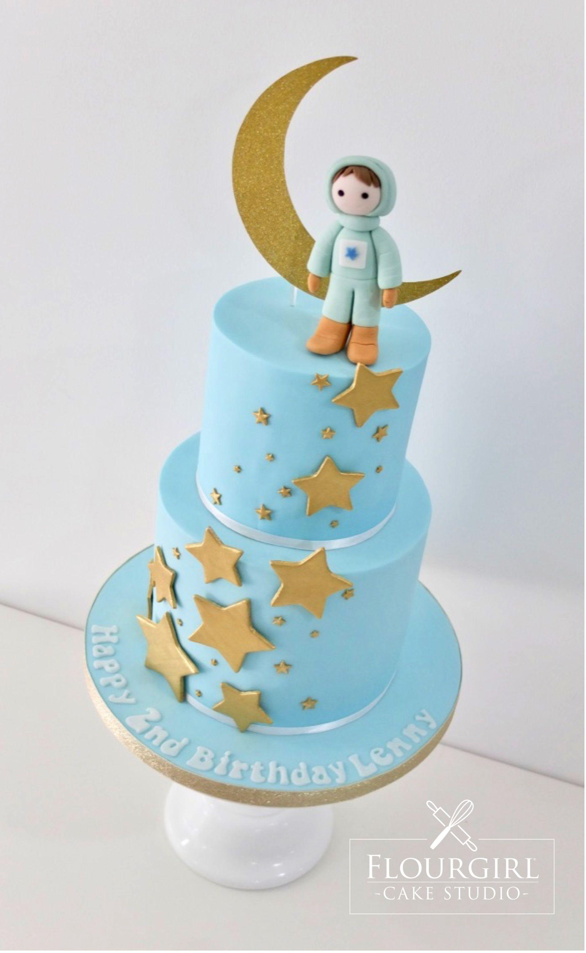 Blue Birthday Cake Stars and Moon Cake Astronaut Cake Star Cake