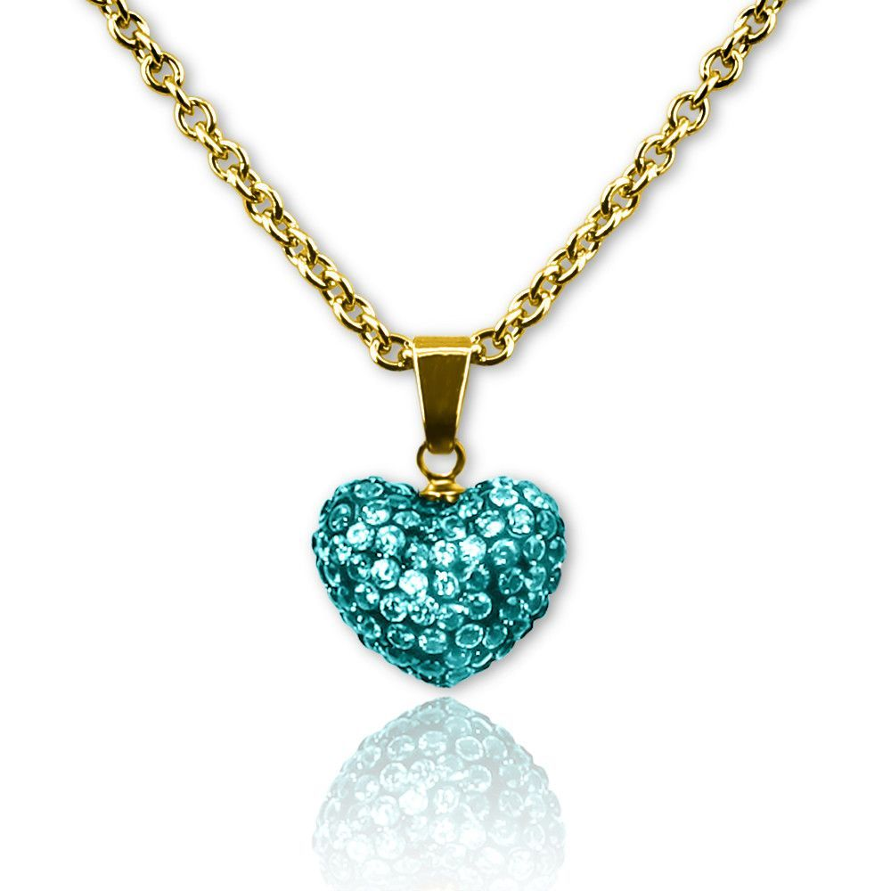 Birthstone Color Crystal Puffed Heart Charm Pendant Necklace, 18K Gold Plated 16 inch Chain