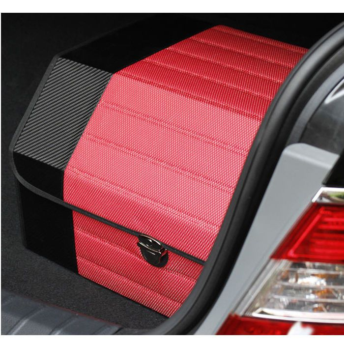 New Car Rear Trunk Folding Carbon Hard Console Box Trunk Clean Storage Red #vincent