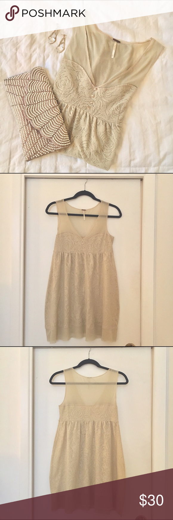 Free People Lace Babydoll Dress Delicate lace dress, gently used, great condition ♡♡ Free People Dresses Mini
