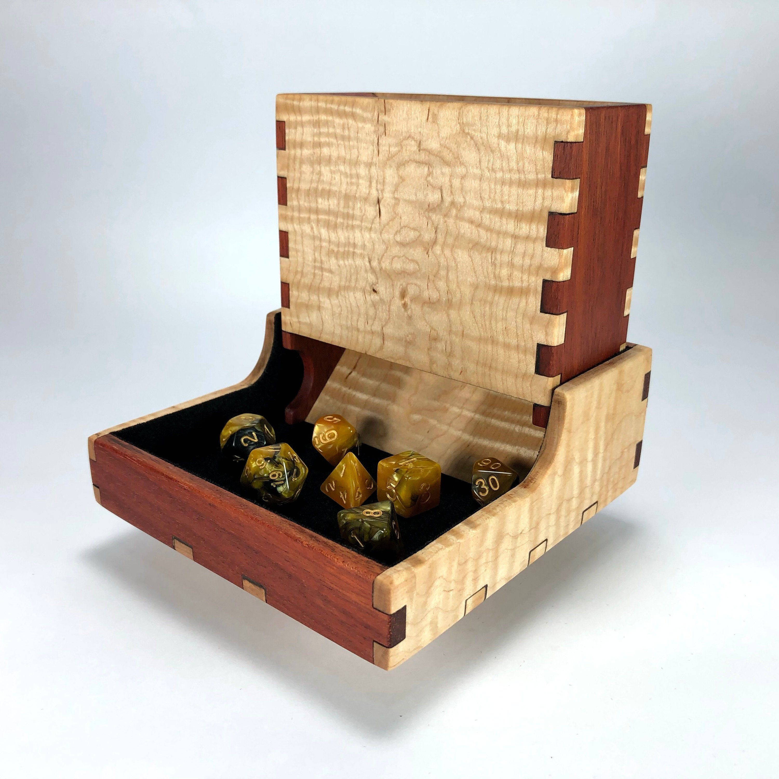 Bloodwood and Curly Maple Dice Tower and Tray with Dice
