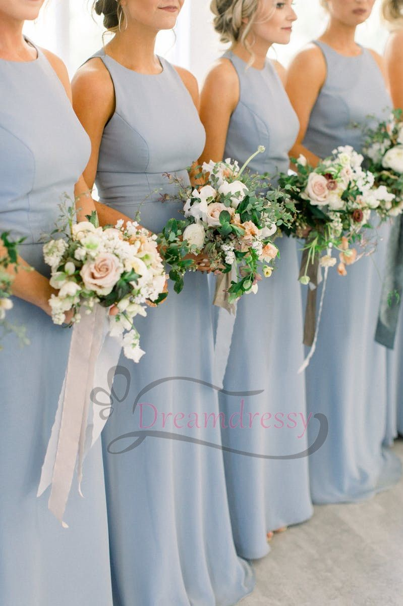 Gorgeous blue long bridesmaid dress with open back new dreamdressy