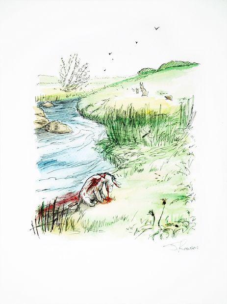 James Rawson. Undead Eor. Pen and watercolour on paper. Original. £250 #jamesrawson #undead #eor #winniethepooh #pooh #zombies #drawing #painting #art #brighton #nowallsgallery