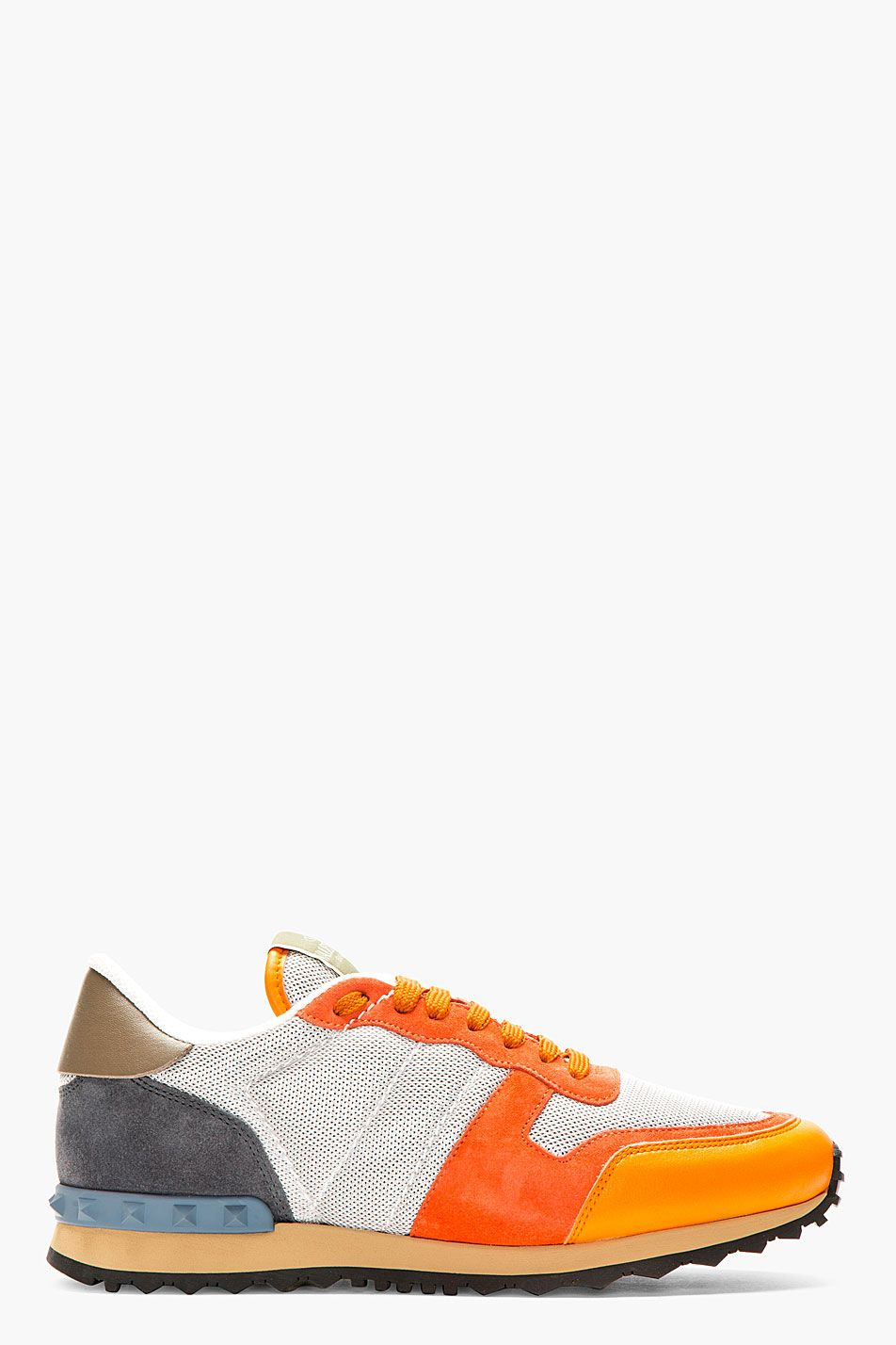 6ed94f13181db VALENTINO Orange   Grey Studded Sneakers New Nike Shoes
