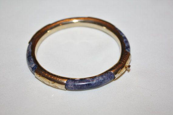 Vintage Purple Jade Bangle Bracelet Gold Gilt 1940s  by patwatty, $45.00
