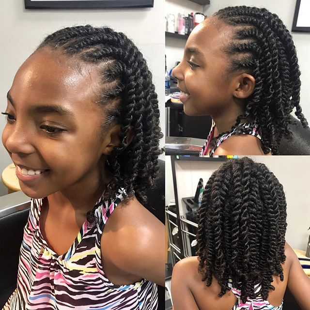 Protective Styles For The Kids Are A Must These Flat Twist With 2 Strand Twists Can Last 4 Weeks With Pro Twist Hairstyles Natural Hair Styles Ponytail Styles