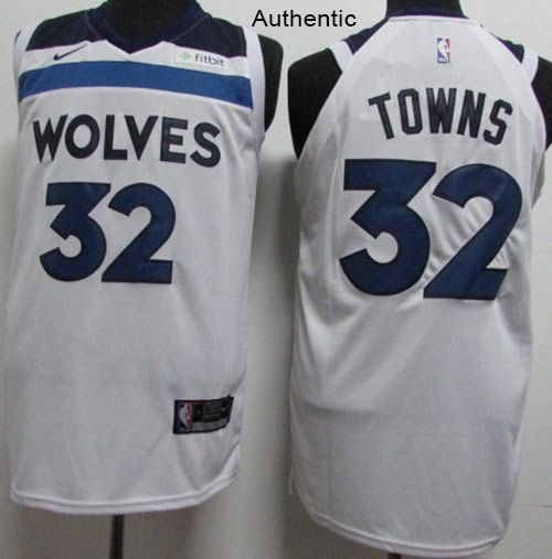 1725b178238 Nike Timberwolves  32 Karl-Anthony Towns White NBA Authentic Association  Edition Jersey