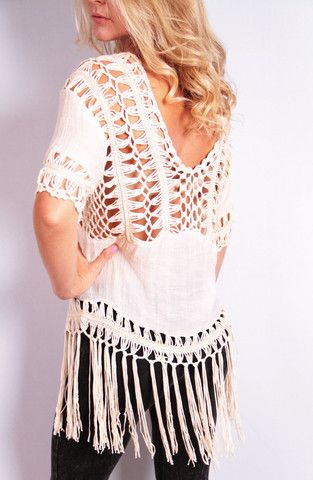 Knit Whit with Fringe Top - Beige