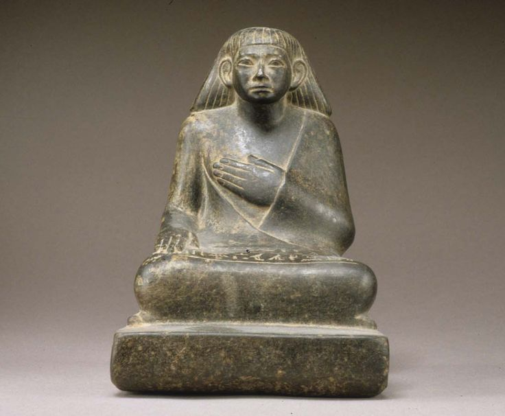Statuette of Khnumhotep Receiving Offerings - Period: Middle Kingdom Dynasty: Dynasty 12–13 Date: ca. 1850–1640 B.C.