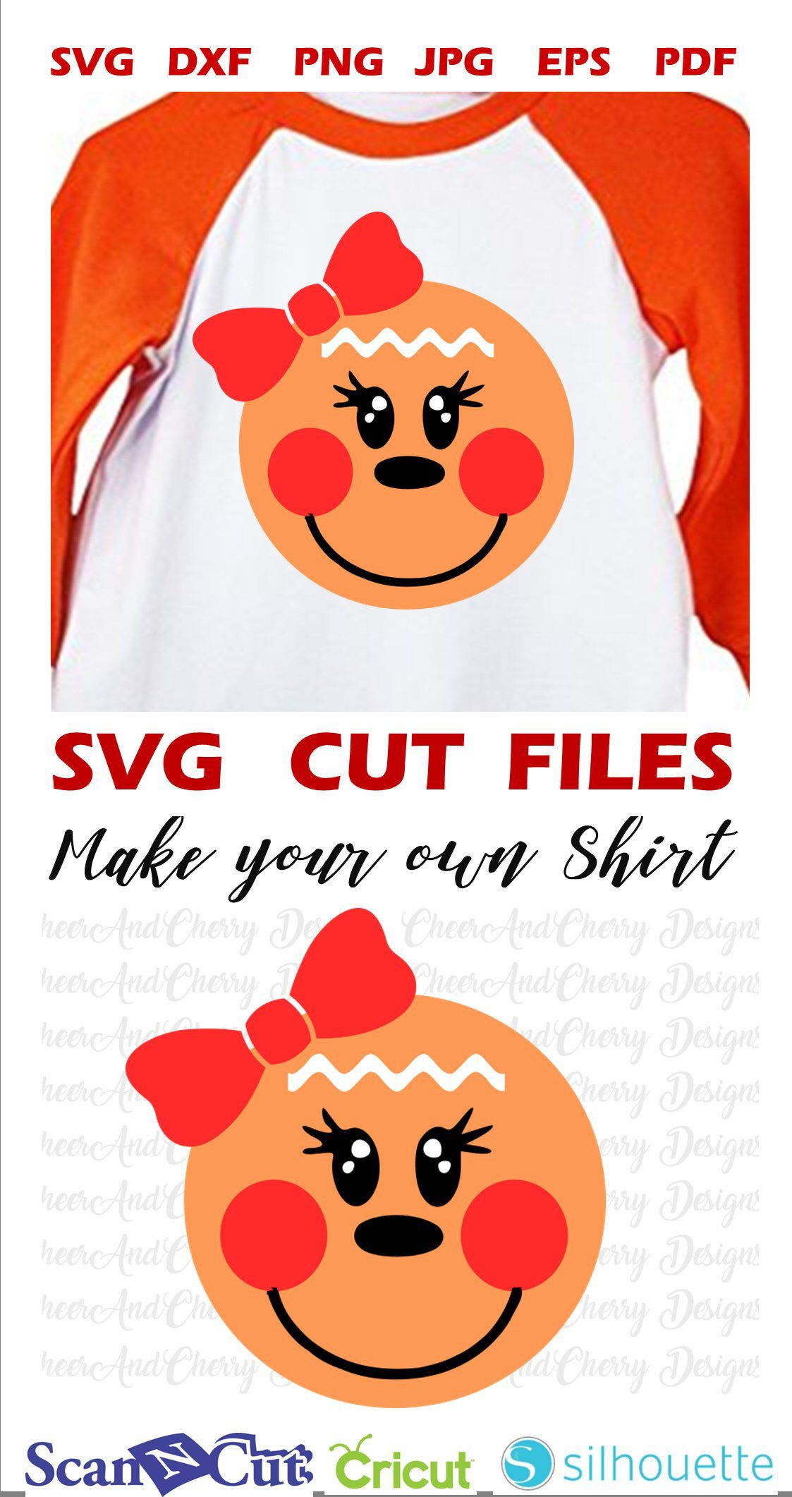 Cute Gingerbread face SVG Girl Gingerbread with bow svg