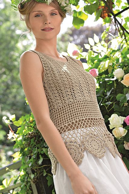 12 - Top au crochet pattern by Bergère de France #romanticlace
