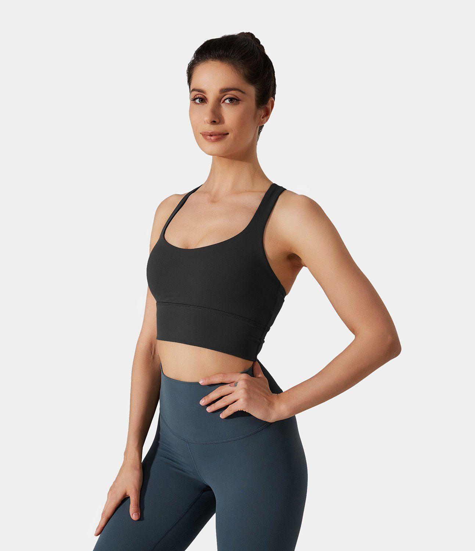 Women's Medium Support Crisscross Plain Sports Bra. Nylon-80%, Spandex-20%, Nylon, Spandex. Sweat-wicking, Breathable, 4-way stretch. Machine