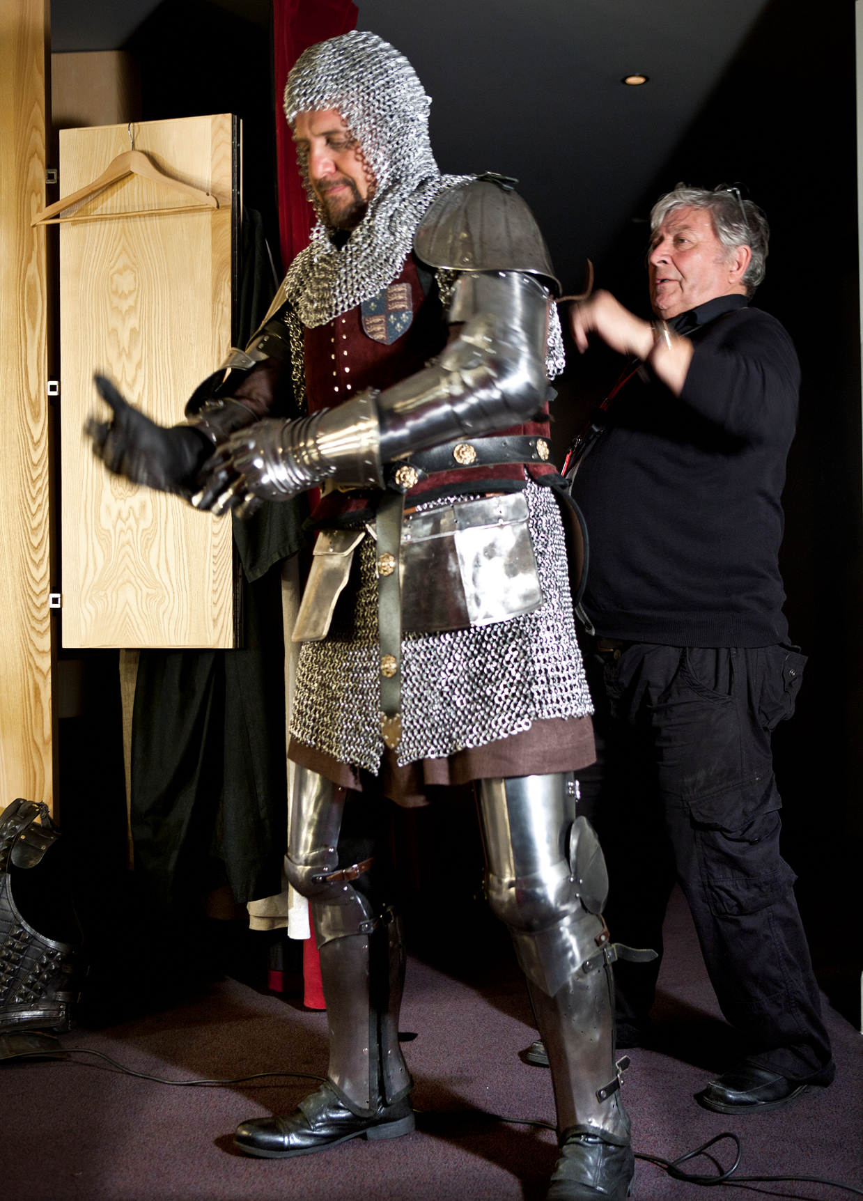 """Nigel Lindsay is armed ready to play Henry Bolingbroke in the RSC's production """"Richard II"""" 2013. The RSC is rare among theatres worldwide in having a whole department devoted to the design and construction of armour, tucked away behind an ordinary terrace of cottages in Stratford, see more: http://www.rsc.org.uk/explore/spotlight-armoury"""