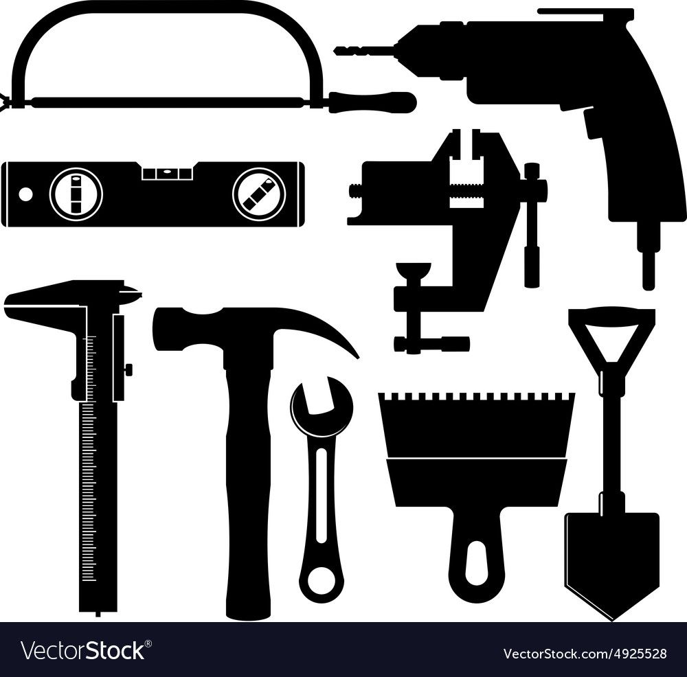 Silhouettes of construction tools vector image on ...
