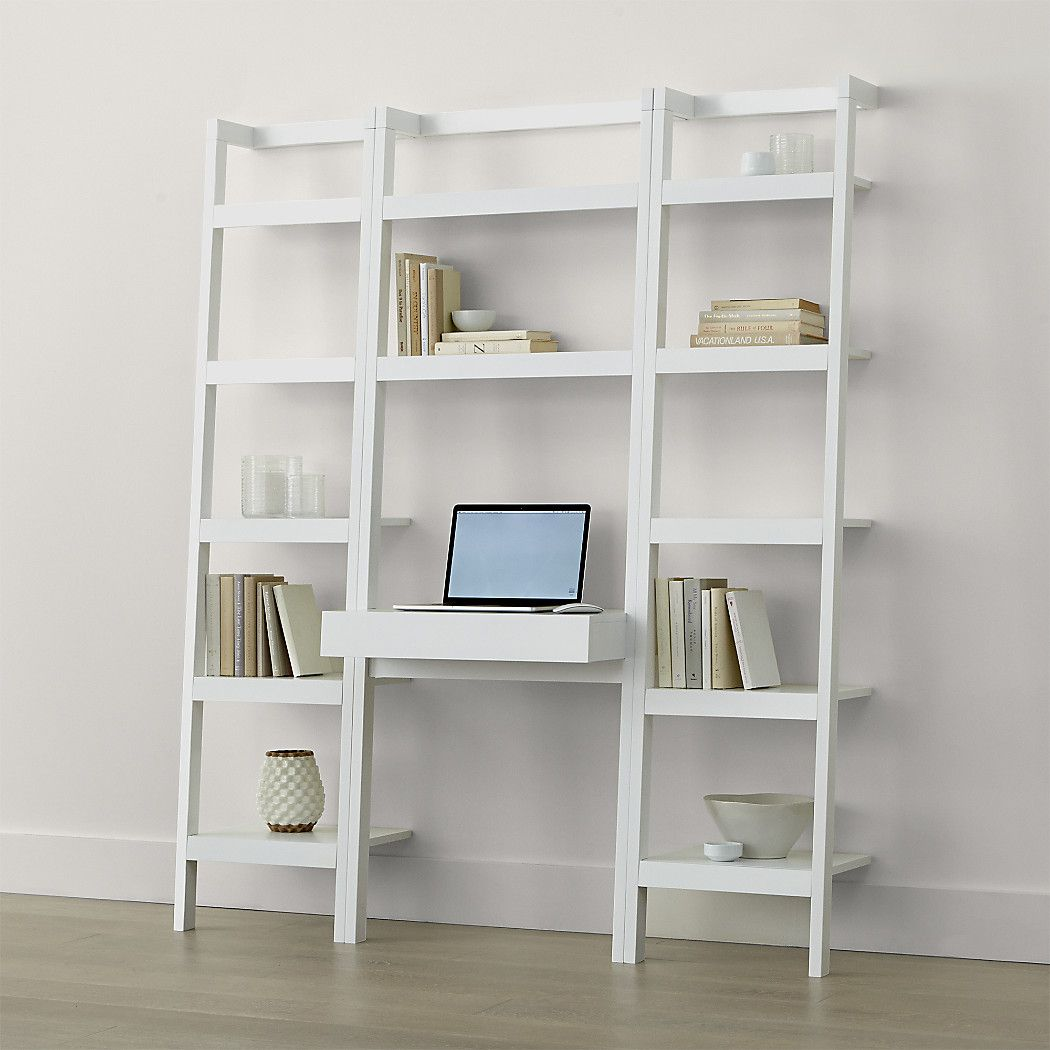 Shop sawyer white leaning desk with two bookcases space saving clean looking sawyer uses an ingenious leaning modular design to creatively solve storage