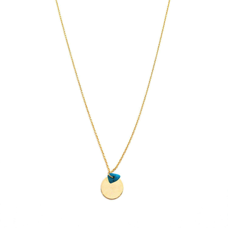Handmade Gold Turquoise Blue Crystal Stone Charm And Disc Karma