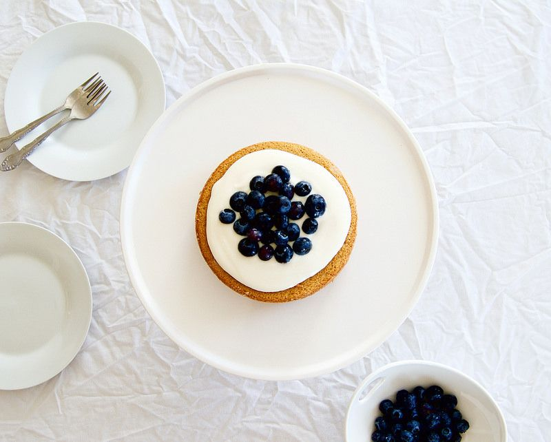 Hot Milk Cake with Blueberries and Tangy Greek Yogurt Icing