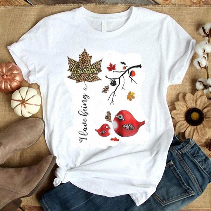 I Love Being A Grandma Cardinal Birds Floral Shirt artwork