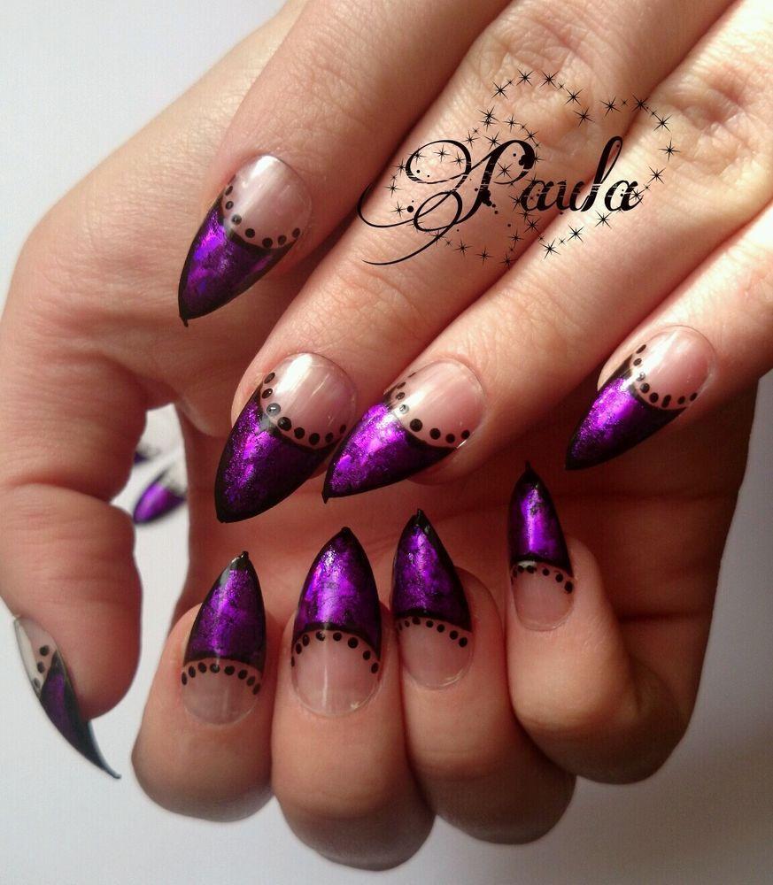 Sterling Silver Quartz Pear Dangle Earrings | Purple french manicure ...
