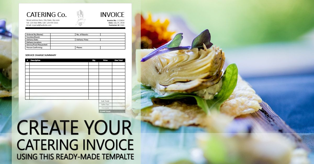 Printable And Ready Made Catering Service Invoice Template Created Using Ms Word Catering Invoice Template Catering Services