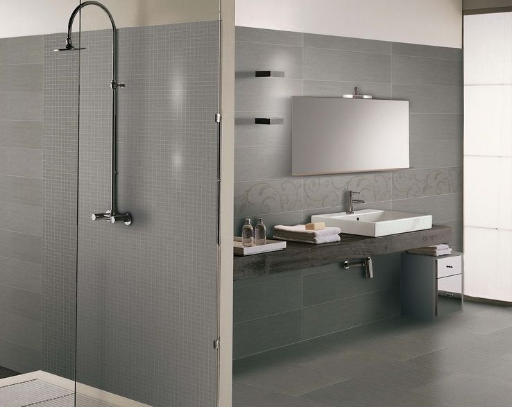 modern bathroom interior\/ minimalistic bathroom interior\/ grey - kleine k che l form