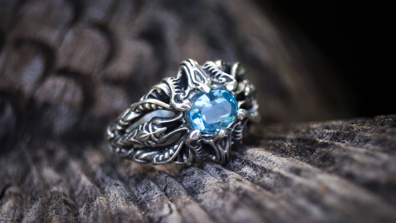 Blue topaz ring vibrant elven jewelry fantasy rings
