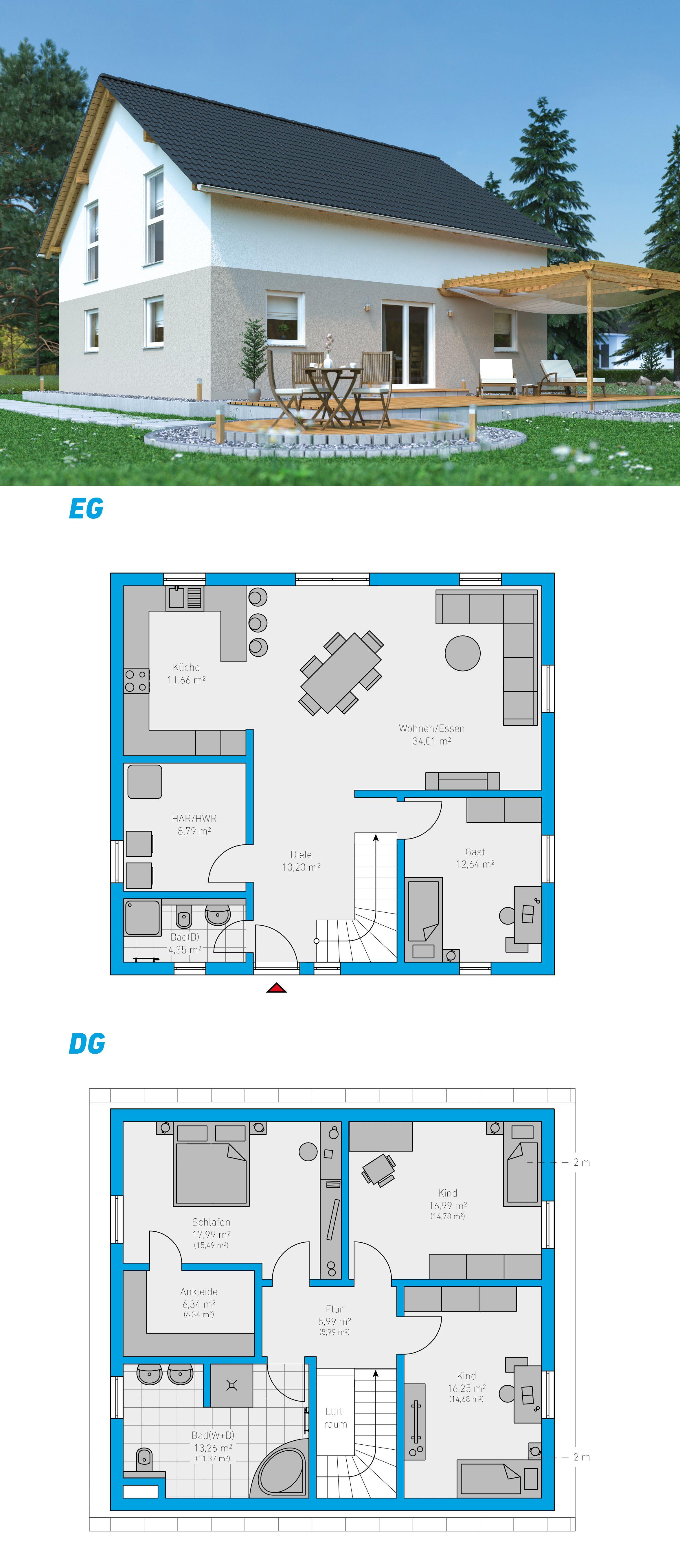 Linea 162 schlüsselfertiges Massivhaus 1,5geschossig