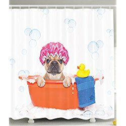 Cute Pug Dog In Bathroom With Rubber Duck Having A Bath Print