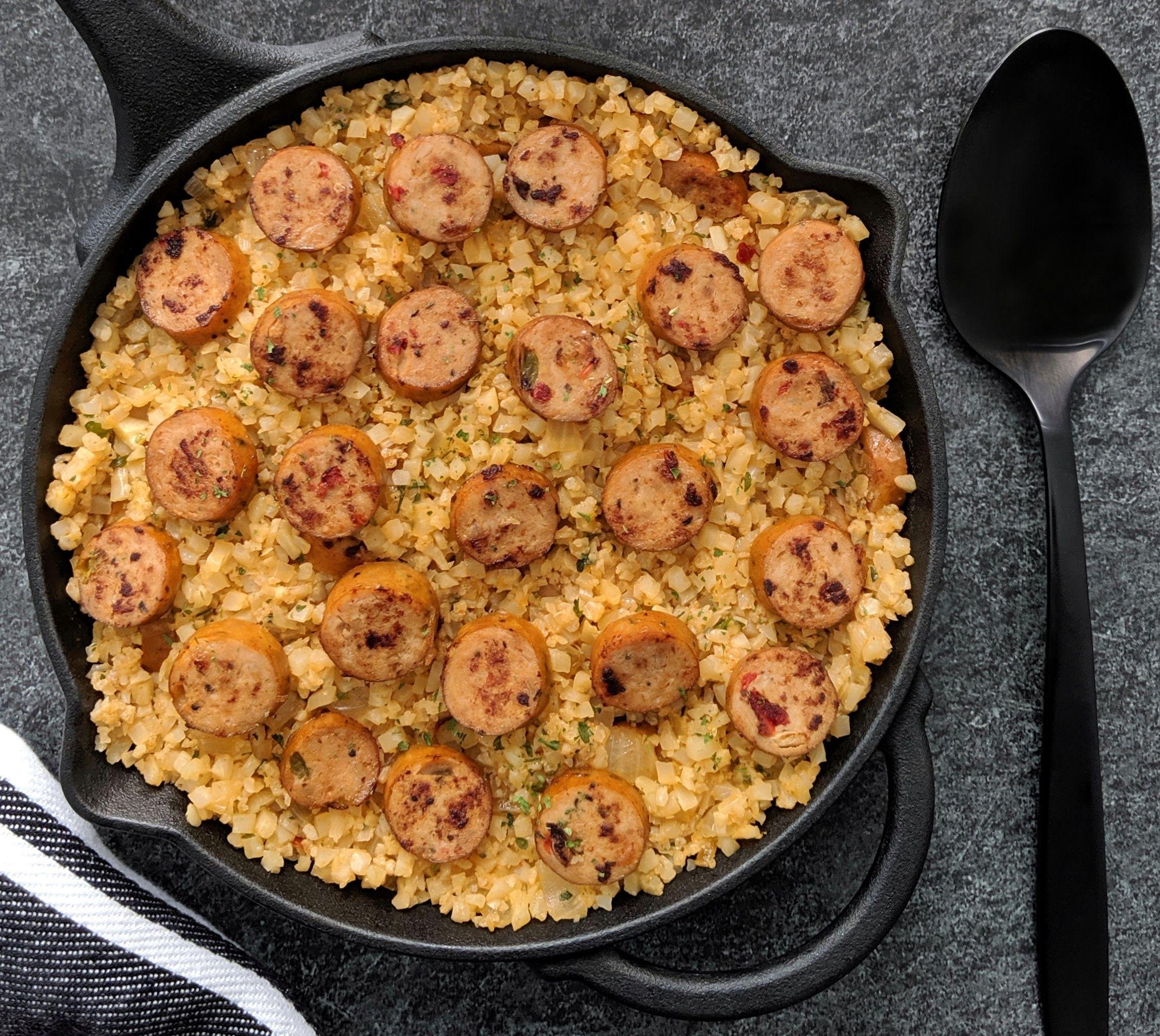 Keto chicken sausage cauliflower rice skillet recipe