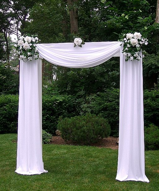 Wedding Altar Ideas Indoors: Tulle Decorated Wedding Arches