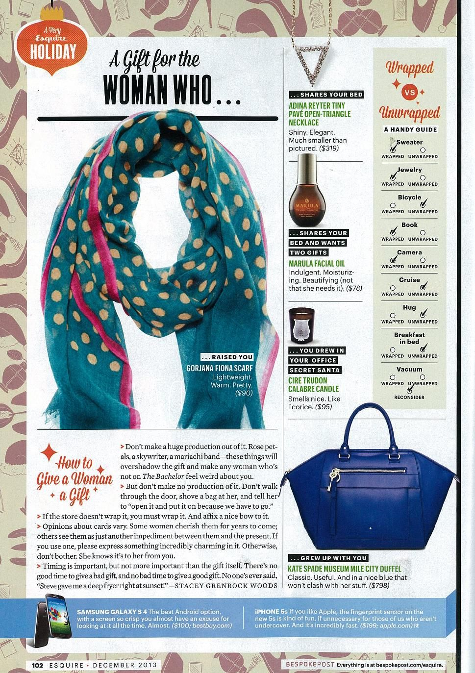 esquire december 2013 gorjana scarf featured in the holiday gift rh pinterest com Holiday Gift Guide 2016 Holiday Gift Guide 2012