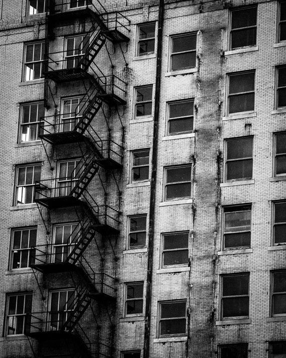 Old fire escape in downtown kansas city black white print by pittsphotography 20 00