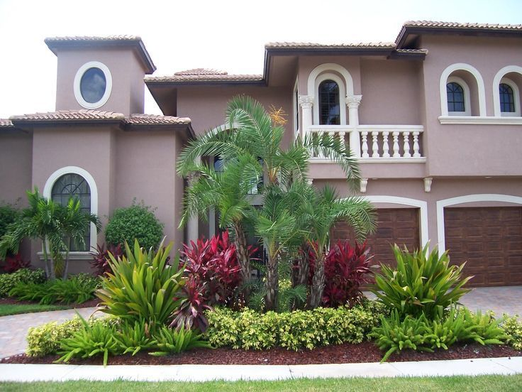 this south florida landscaping has a tropical theme with palm trees on both sides of the front