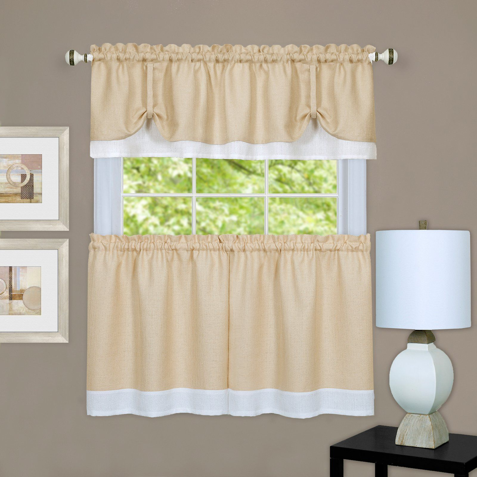 Achim Darcy Curtain Tier And Window Valance Set Beige Valance