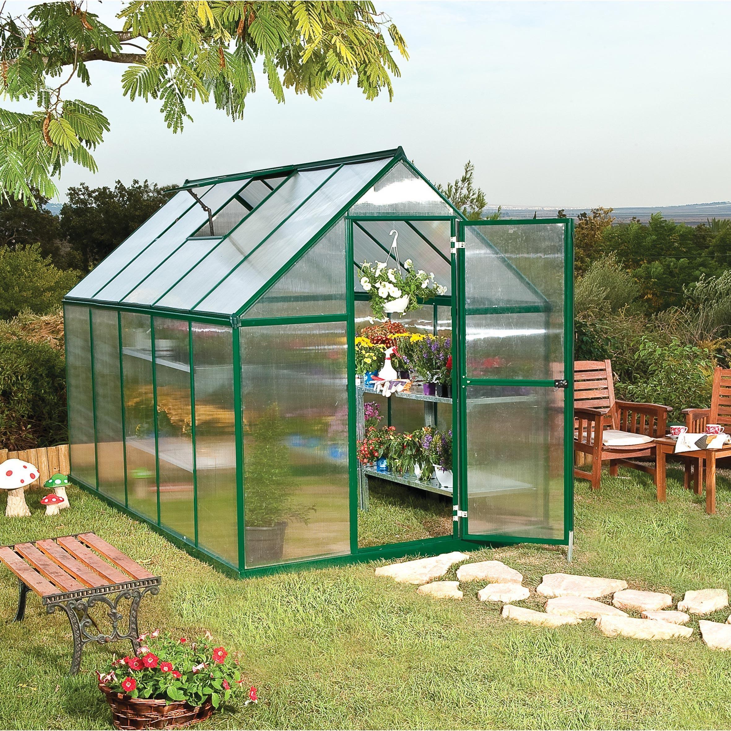 Serre de jardin MYTHOS 5.6 m², aluminium et polycarbonate ...