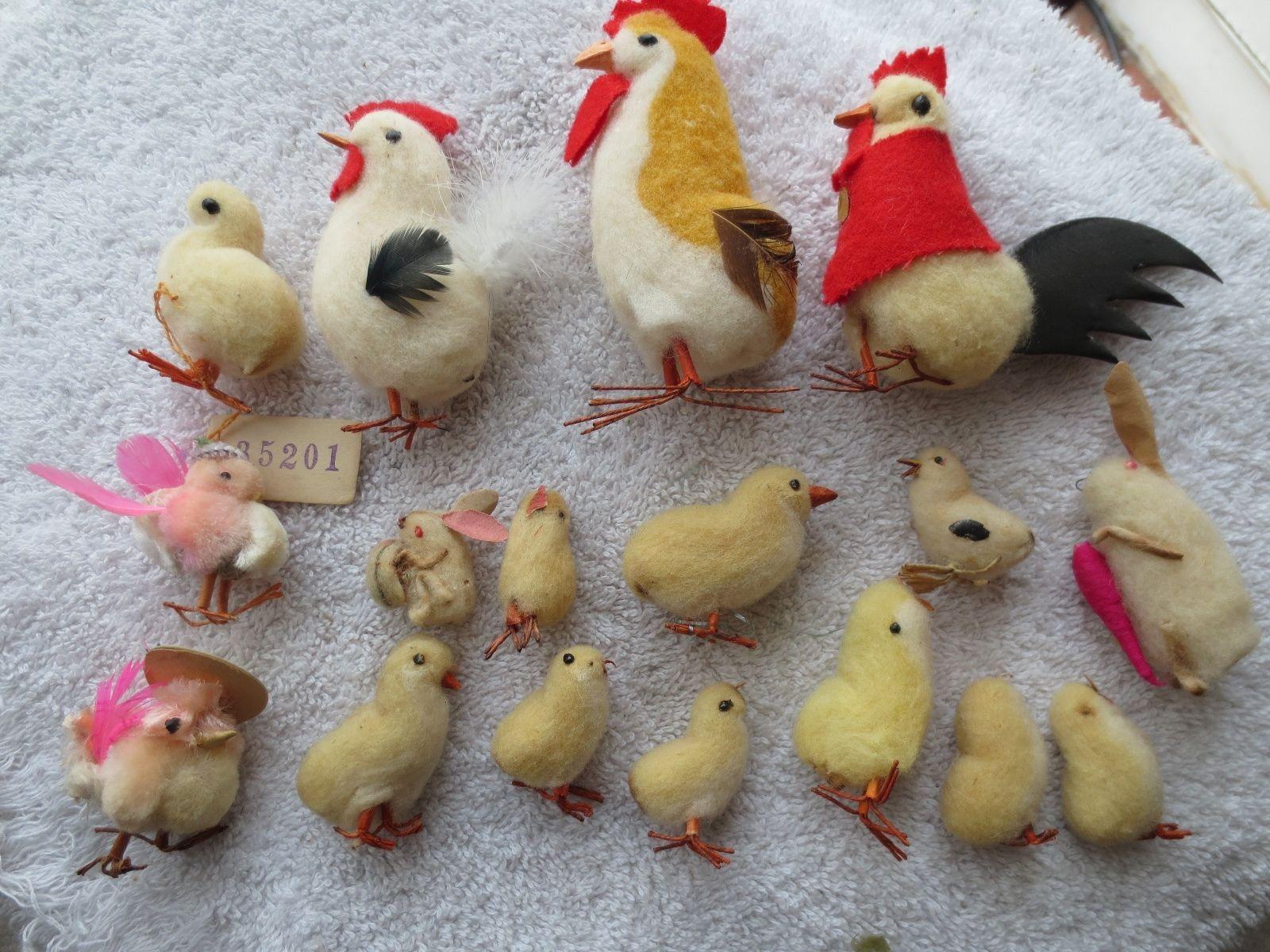 Chicken christmas ornaments - Antique Spun Cotton Christmas Ornaments Lot 17 Antique Spun Cotton Easter Chicks Ebay