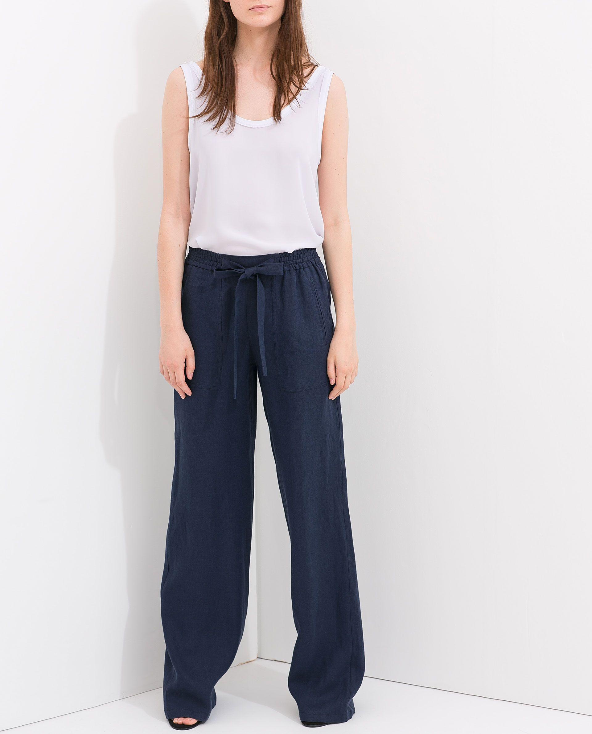 pantalon lin taille lastiqu e et ceinture pantalons femme zara france mapping. Black Bedroom Furniture Sets. Home Design Ideas