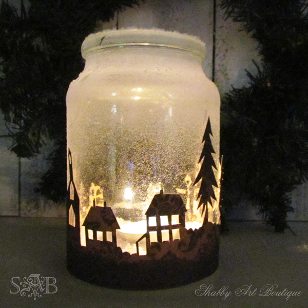 christmas township candle jar christmas decorations seasonal holiday decor Spray top of jar with Santa snow and fill with Epsom Salts and a candle & Farbe Schneespray salz? | Weihnachtszeit | Pinterest | Candle jars ...