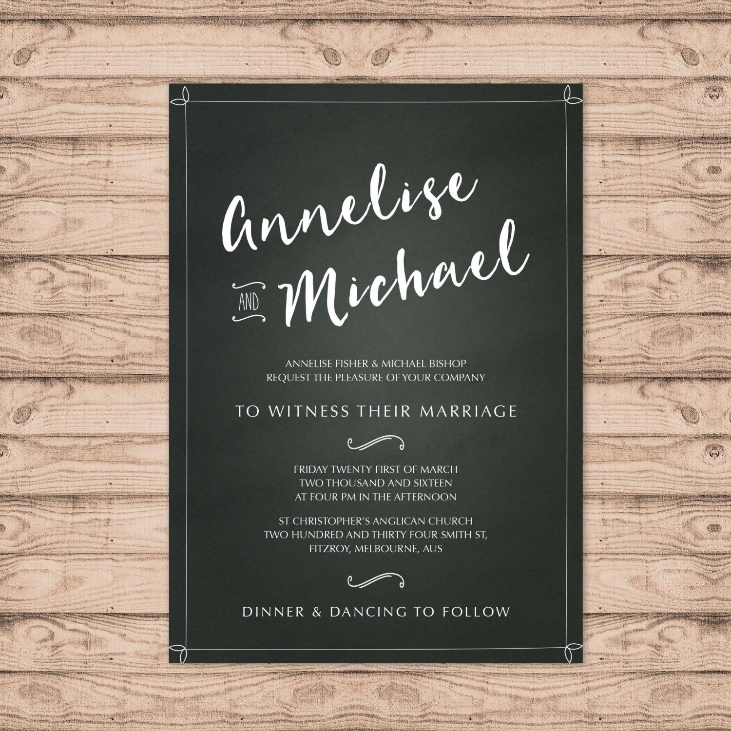 Chalkboard Wedding Invitation   Print At Home File Or Printed Invitations    On The Board Rustic