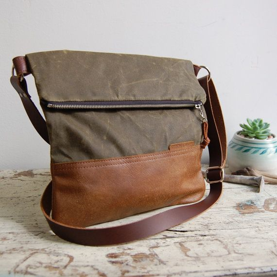 aebd443bc2 Waxed Canvas and Leather Foldover Crossbody Bag by StitchandRivet