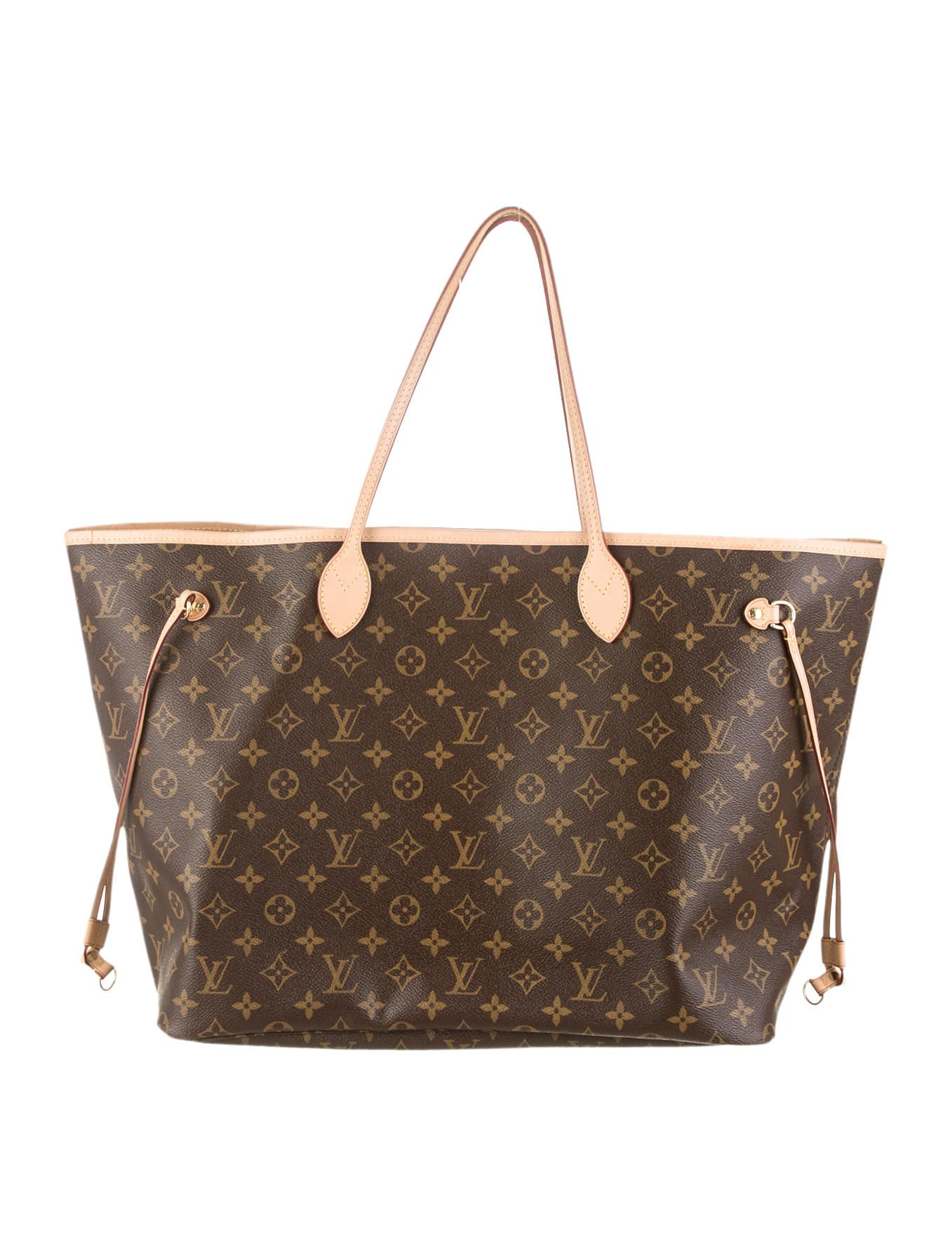 Brown coated monogram canvas Louis Vuitton Monogram Neverfull GM tote with vachetta  leather trim 7aba422cdac04
