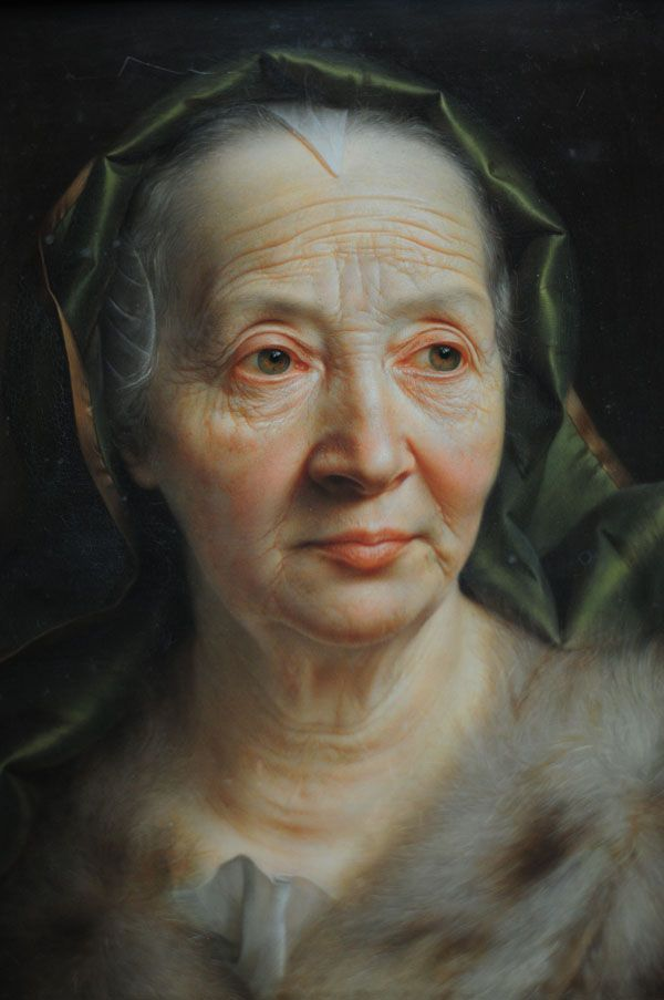 Underpaintings - Christian Seybold - Portrait of an Older Woman with a Green Scarf - 1768 - oil on copper