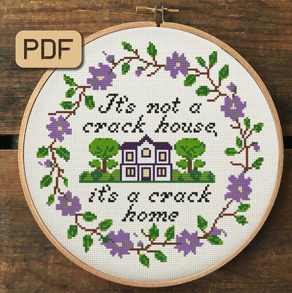 Photo of Funny Cross Stitch Pattern, Housewarming Cross Stitch Set, Home Cross Stitch Pdf, Subversive Embroidery Hoop Art