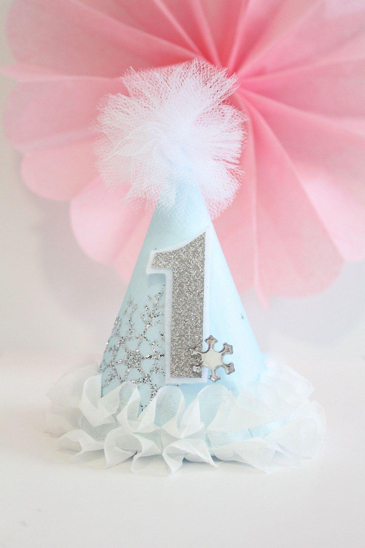79feec499e3 1st Birthday Cakes. Winter ONEderland Frozen Ice Princess Snowflake Party  Hat Cake Topper Tassel Garland Banner Blue White Silver