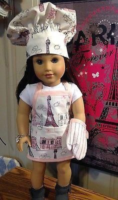 American Girl Doll,  Grace Thomas Models Her Handmade Paris apron set