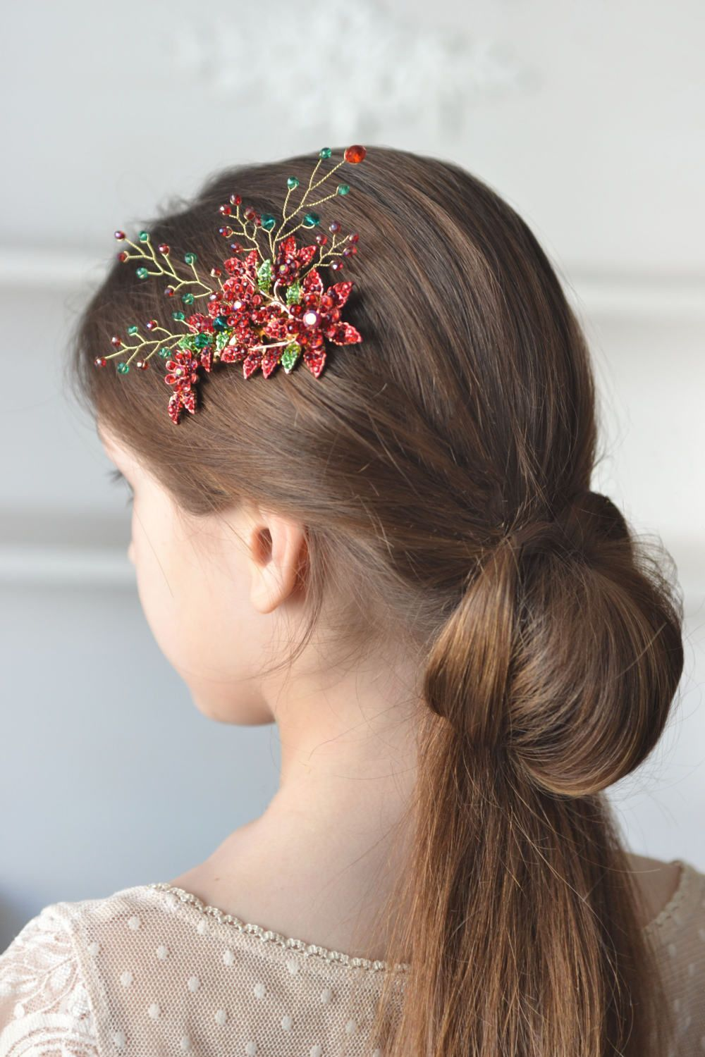 Red bridal comb hair green red head piece back crystal hair vine red
