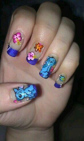 Liloandstitch Stitch Nailart Nailsofinstagram Nails Disney Disneynailart Disney Nails Disney Acrylic Nails Pretty Acrylic Nails