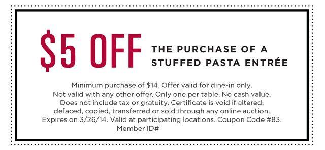 StuffedPasta_Coupon Printable coupons, Restaurant