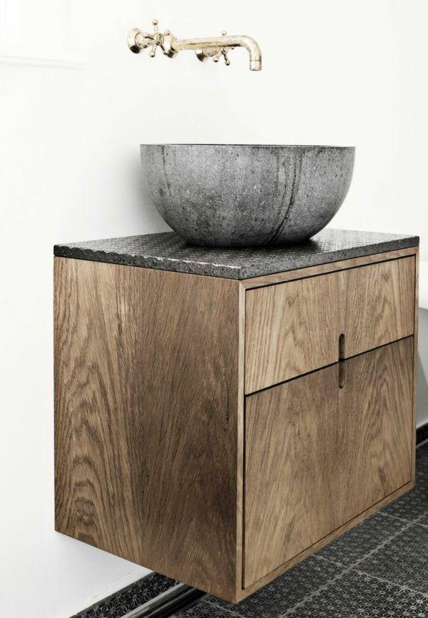 Bad Ideen Waschbecken Schrank Holz