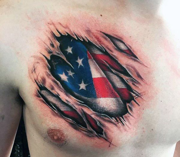 Top 60 Best American Flag Tattoos For Men - USA Designs ...